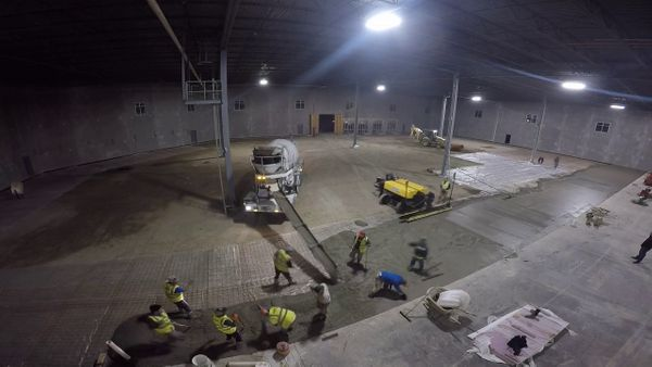 Concrete Floor Laser-Guided Screed Concrete Pour In Action